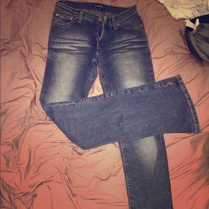 Bebe jeans blue whisker washed flared 26